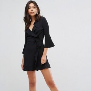 Black Crepe Wrap Dress